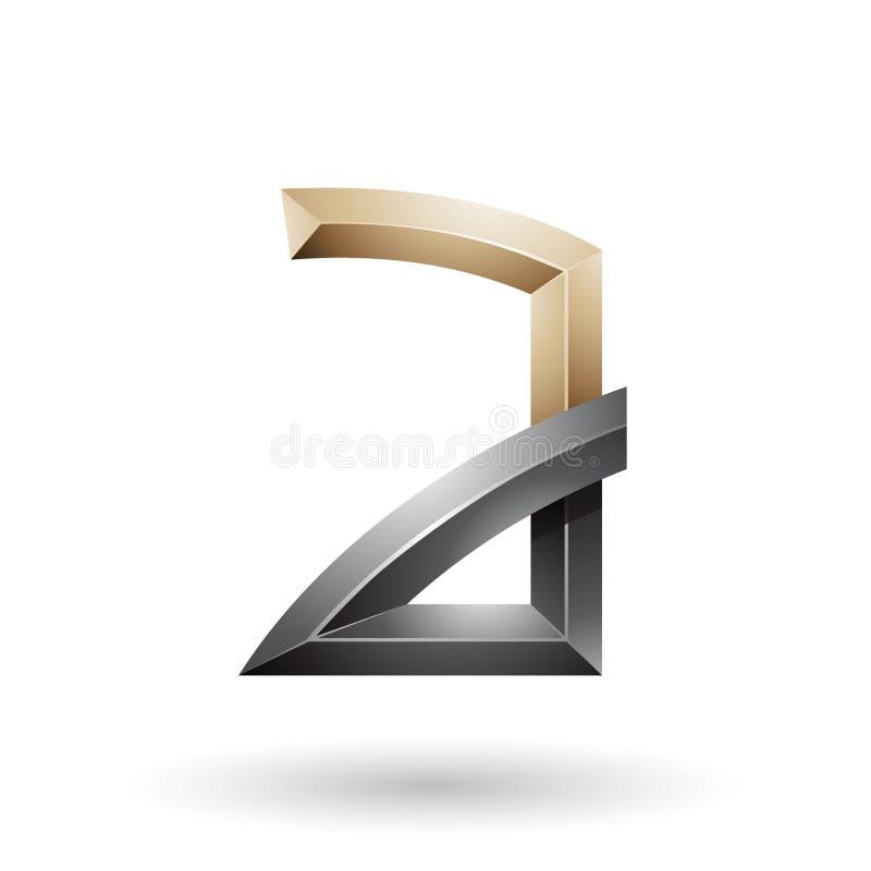 Beige und schwarzer prägeartiger Buchstabe A mit den verbogenen Gelenken lokalisiert auf einem weißen Hintergrund stock abbildung