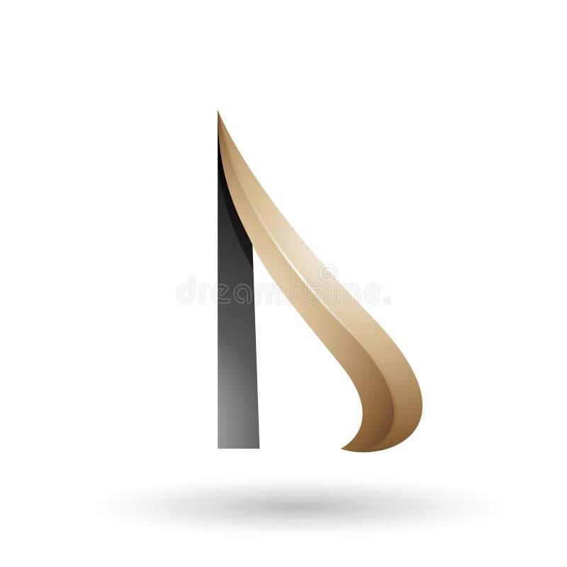 Beige und schwarzer prägeartiger Pfeil ähnlicher Buchstabe D lizenzfreie abbildung