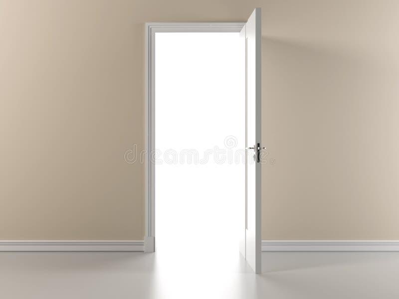 Beige vägg med den öppna dörren royaltyfri illustrationer