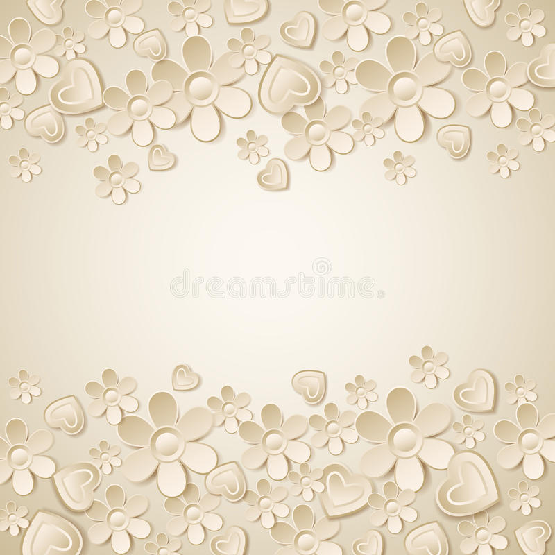 Free Beige Valentine Background With Many Flowers Royalty Free Stock Images - 38947089