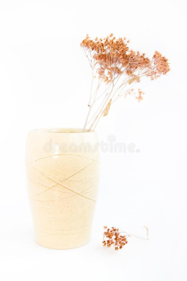 Beige vase with dried plants on a white background. minimalism style. interior decoration. royalty free stock photos