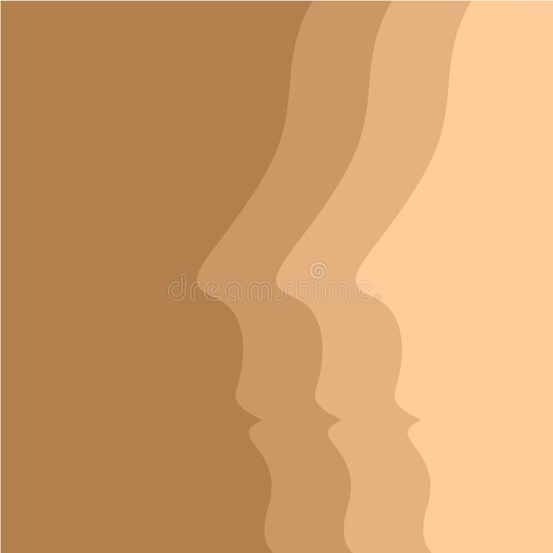 Beige vector background with human face profiles stock illustration