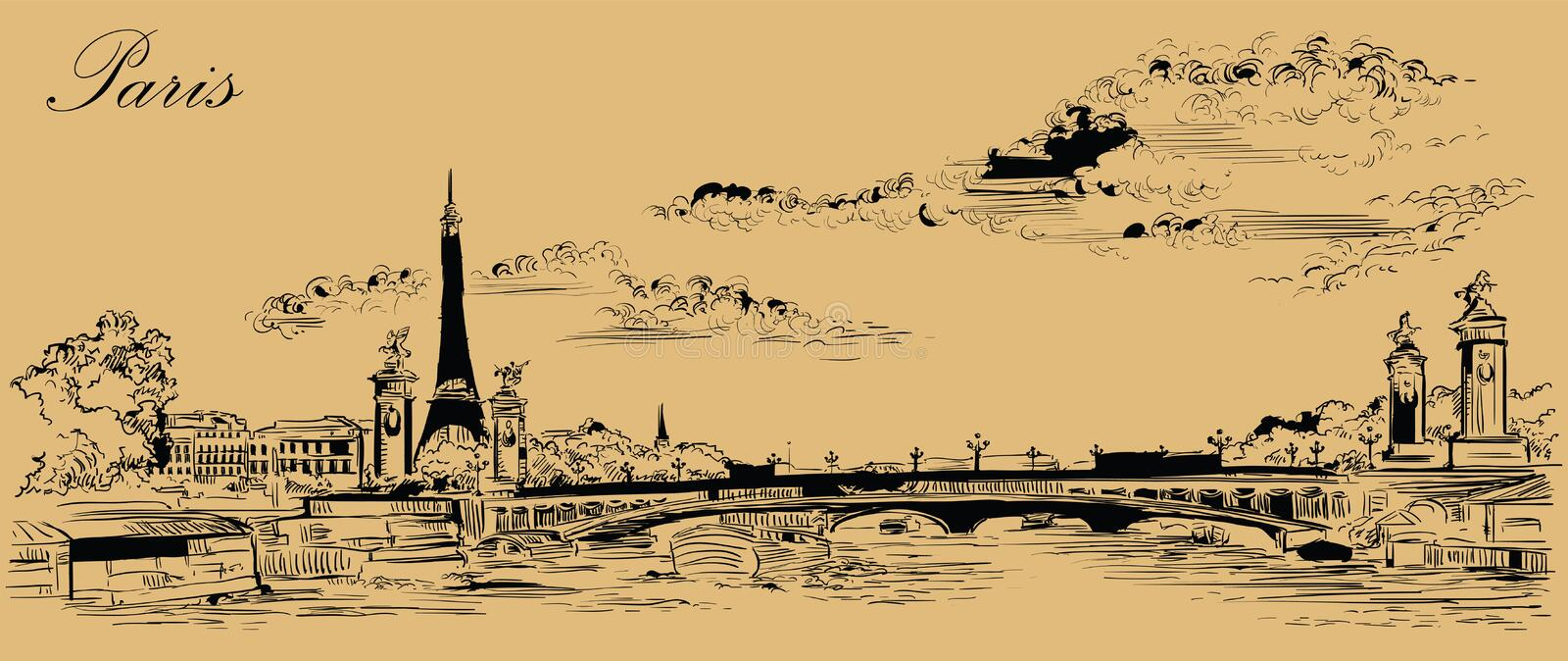 Beige vector hand drawing Paris 4. Vector hand drawing Illustration of Eiffel Tower Paris, France. Landmark of Paris. Panoramic cityscape with Eiffel Tower and vector illustration