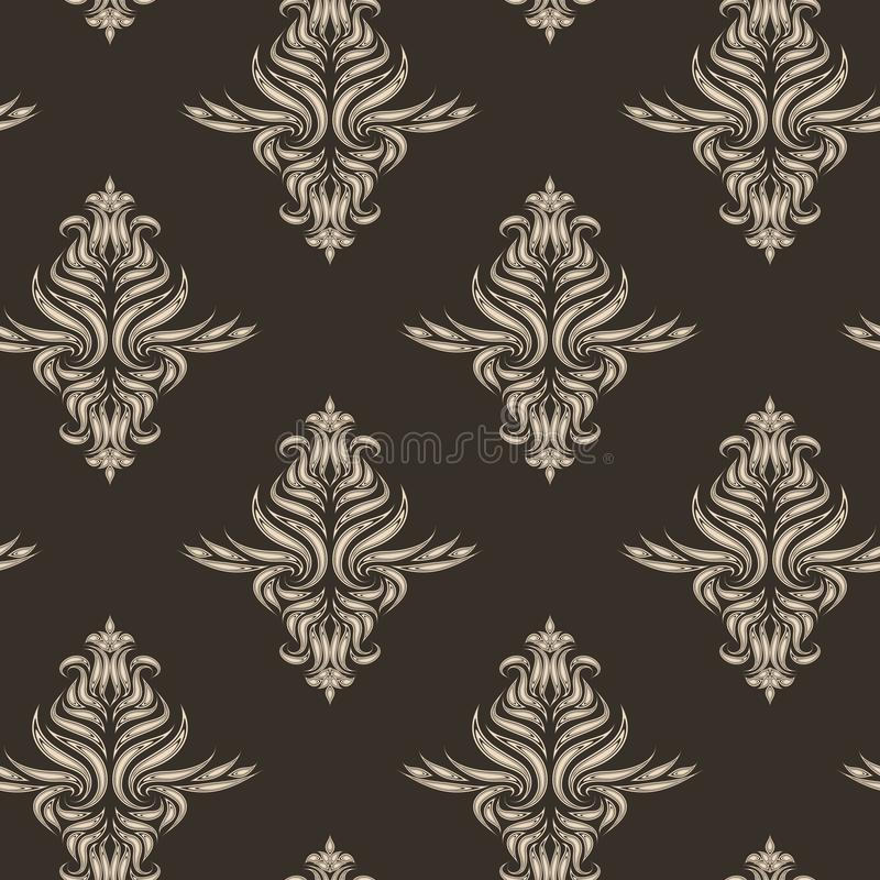 Beige vector seamless pattern. Texture for fabrics or packaging in brown color with floral elements. royalty free illustration