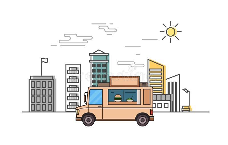 Beige voedselvrachtwagen op gestileerde cityscape achtergrond Vlakke vectorillustratie Dunne lijnstijl, witte achtergrond vector illustratie