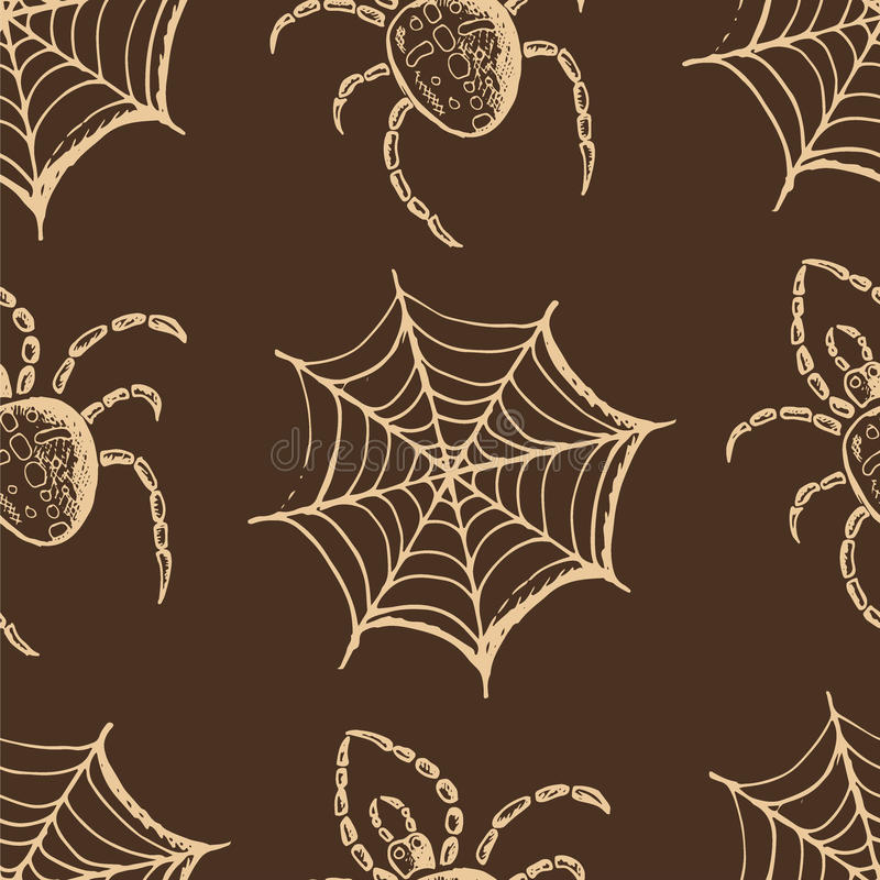 Beige webs and spiders on a brown background. Seamless pattern, hand drawn set of halloween attributes, beige webs and spiders on a brown background vector illustration