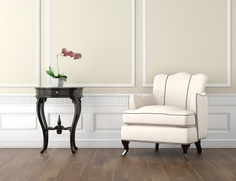 Beige and white classic interior. Interior design of classic room in beige and white colors with couch table and a vase with orchid, copy space on top half royalty free illustration