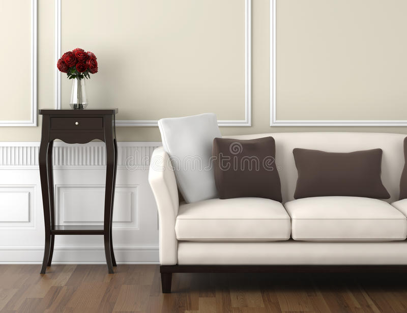 Beige and white classic interior. Interior design of classic room in beige and white colors with couch table and a vase of roses, copy space on top half vector illustration