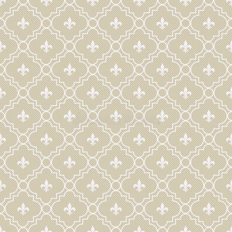 beige and white fleur de lis pattern textured fabric background