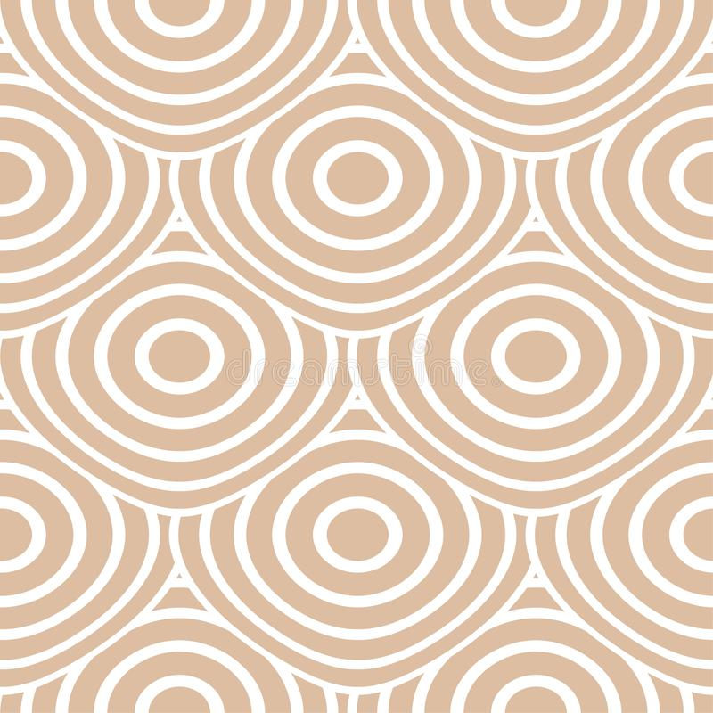 Beige and white geometric ornament. Seamless pattern vector illustration