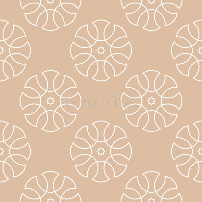 Beige and white geometric ornament. Seamless pattern royalty free illustration