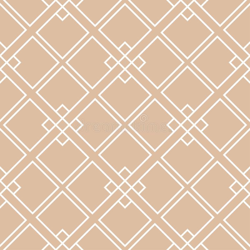 Beige and white geometric ornament. Seamless pattern stock illustration