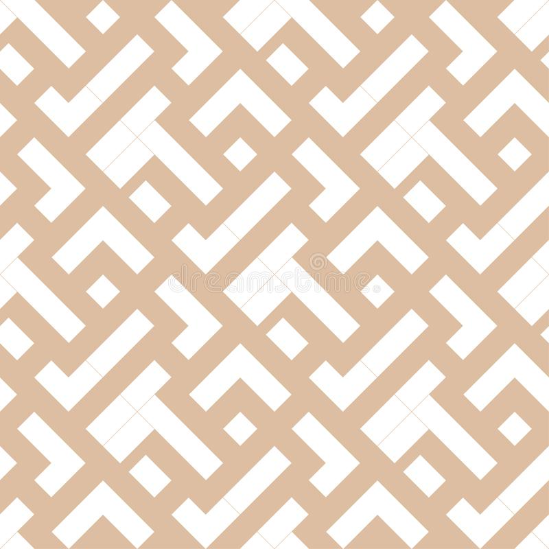 Beige and white geometric print. Seamless pattern royalty free illustration