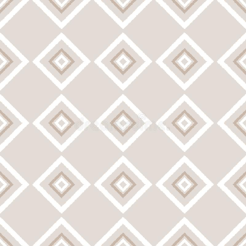 Beige and white ikat ornament geometric abstract fabric seamless pattern, vector stock illustration