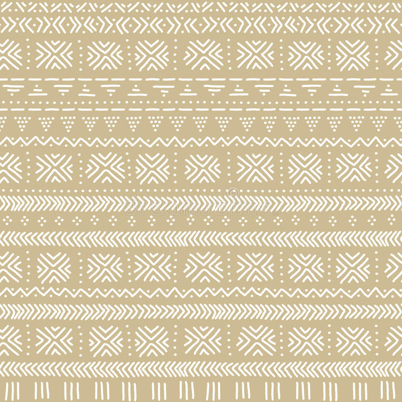 Beige and white mudcloth african ethnic geometric seamless pattern, vector royalty free illustration