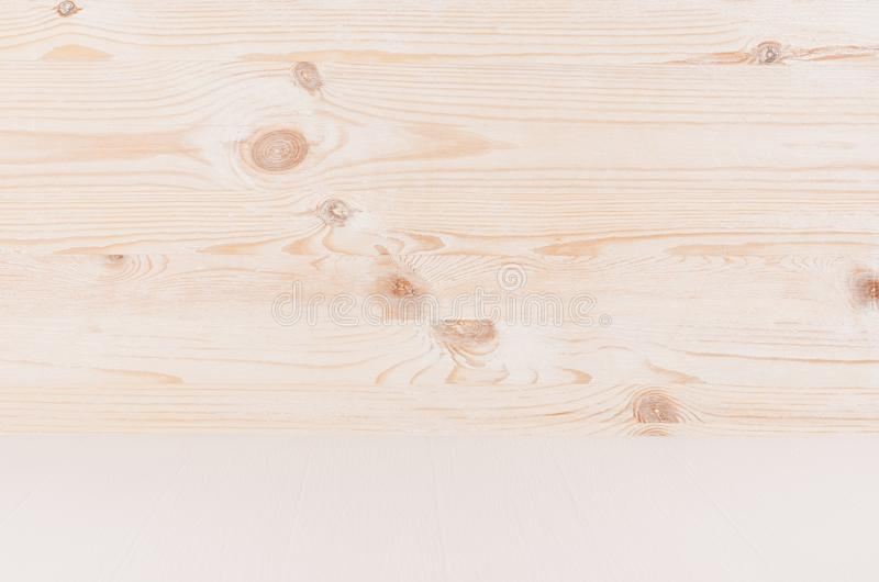 Beige and white new natural wood background with perspective, wall and shelf, blank. stock photo
