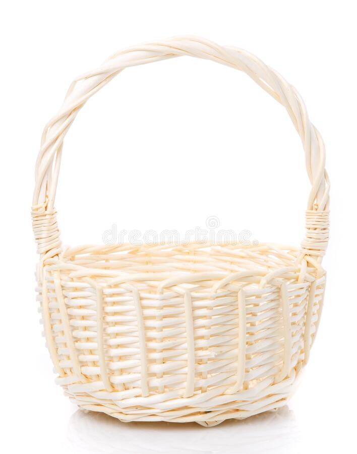 Beige wicker basket made of natural vine. Isolated stock images