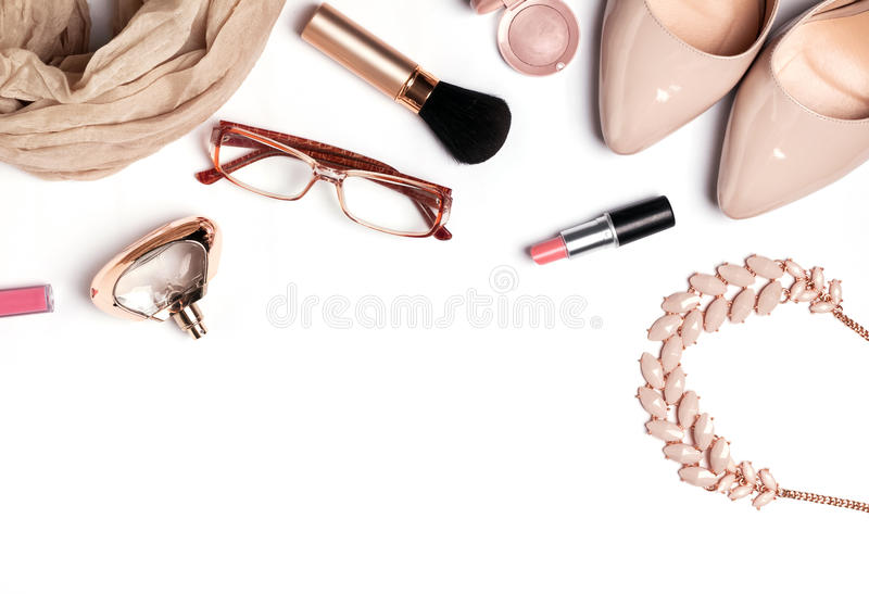 Beige womans outfit royalty free stock photography