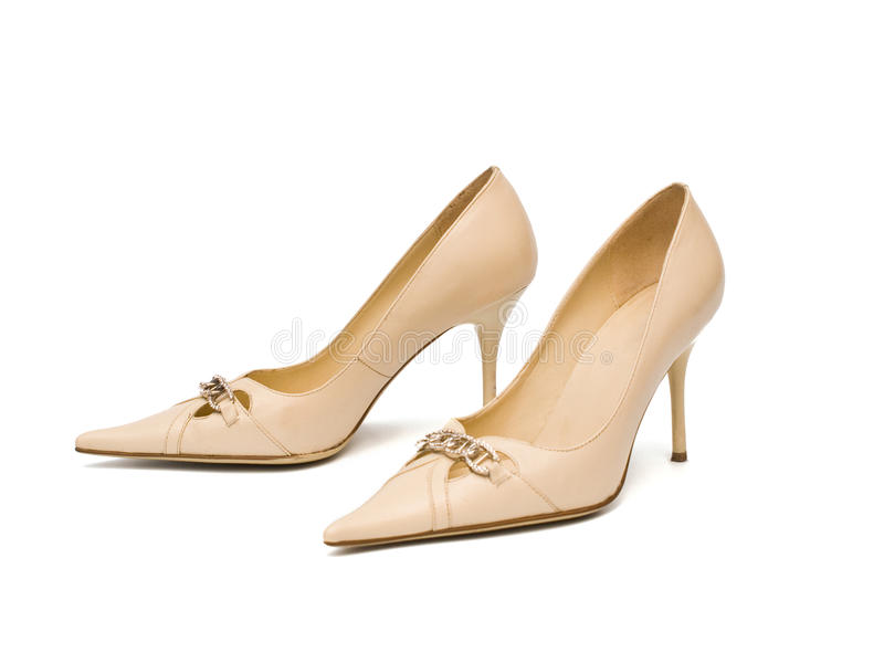 Beige women's shoes stock photography