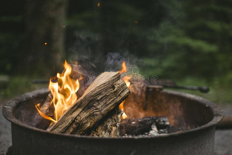 Beige Wood Putted on Fire stock photo