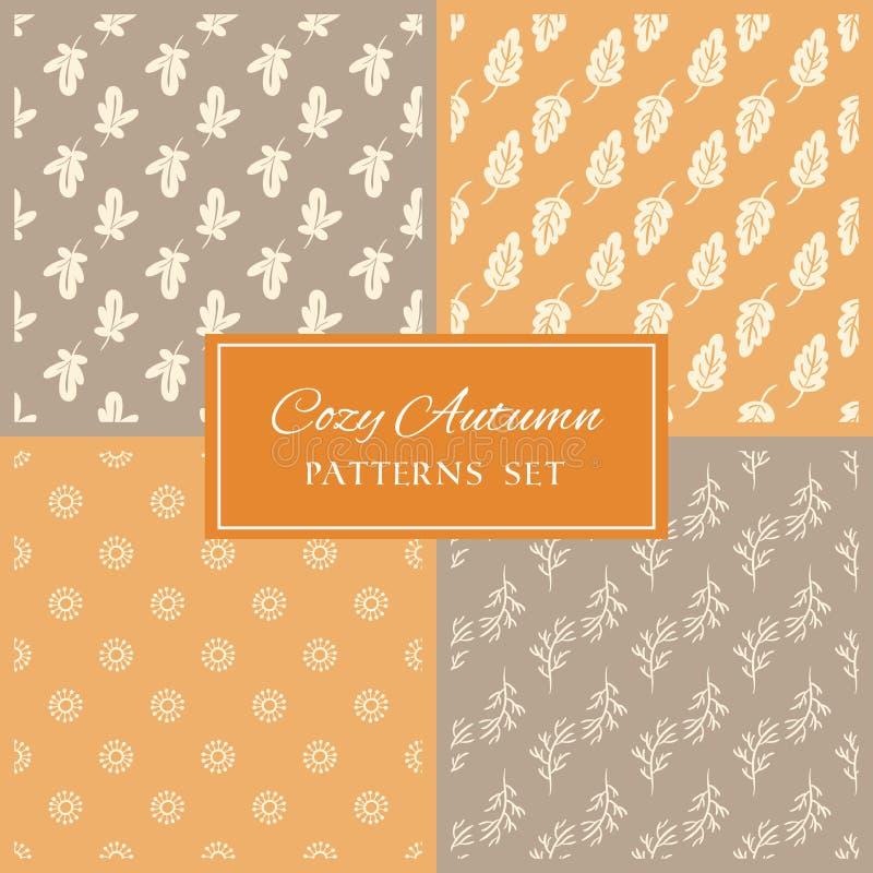Beige y colección anaranjada de los fondos del garabato de las hojas libre illustration