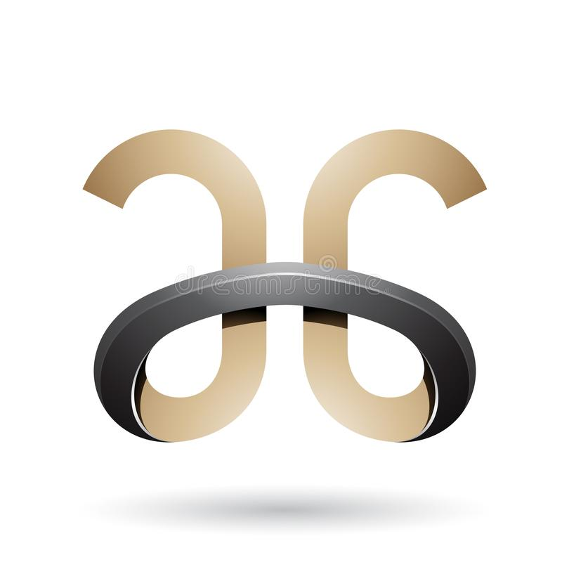 Beige y letras con curvas intrépidas negras A y G stock de ilustración