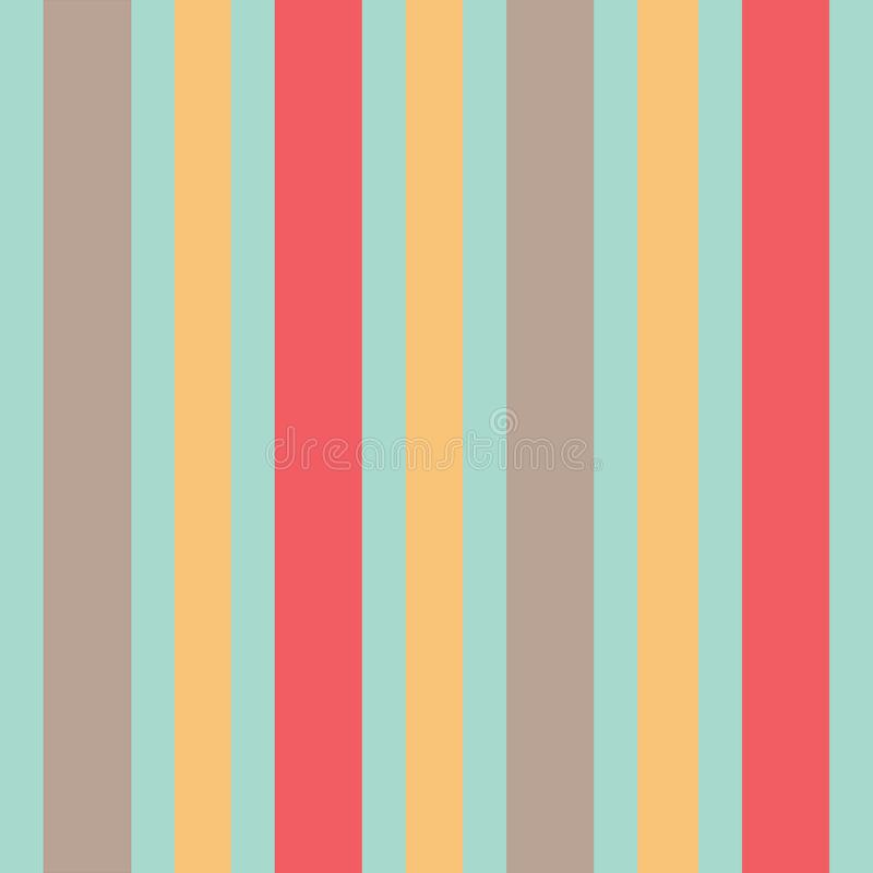 Beige yellow and coral stripes on mint green background seamless pattern. vector illustration