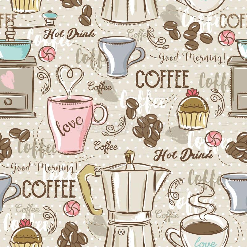 Beigea sömlösa modeller med kaffeuppsättningen, kaffebryggare, muffin vektor illustrationer