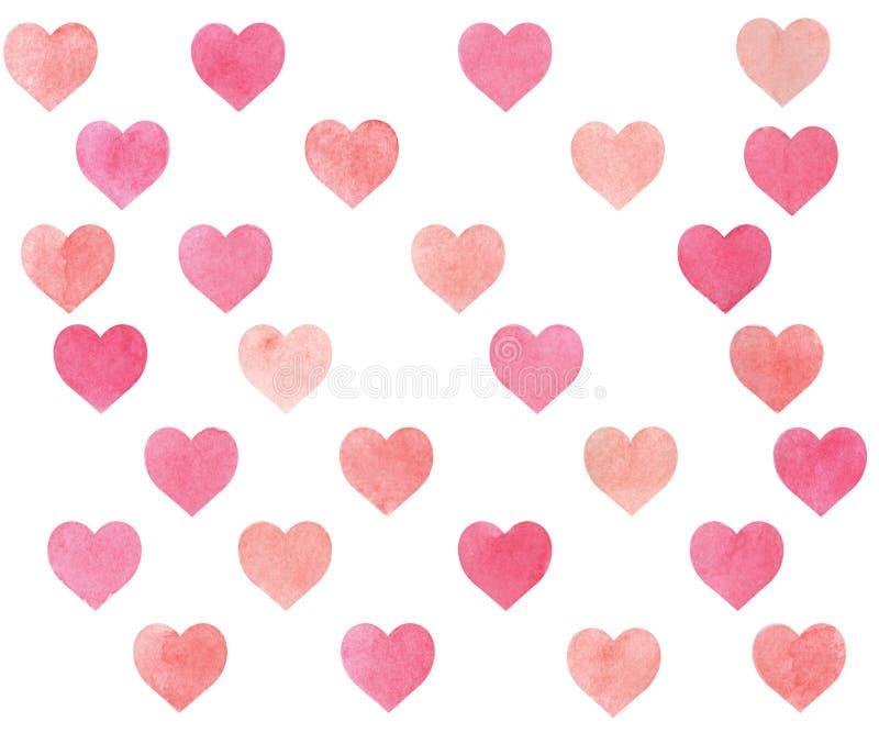 Beigea vattenfärghjärtor som är rosa och vektor illustrationer