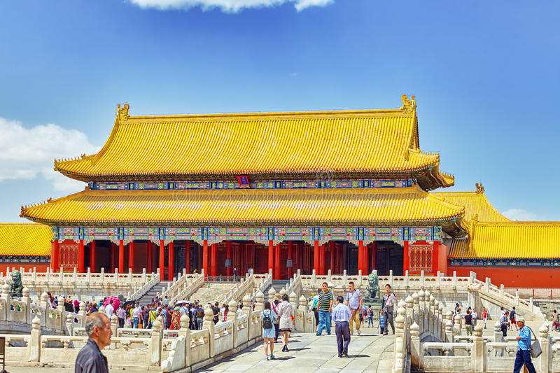 BEIGING, CHINA- MAY, 18, 2015: Palaces, pagodas inside the area royalty free stock image