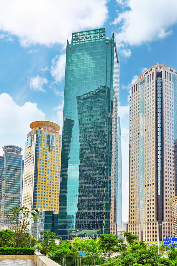 BEIGING, CHINA- MAY, 24: Skyscrapers, city building of Pudong royalty free stock image