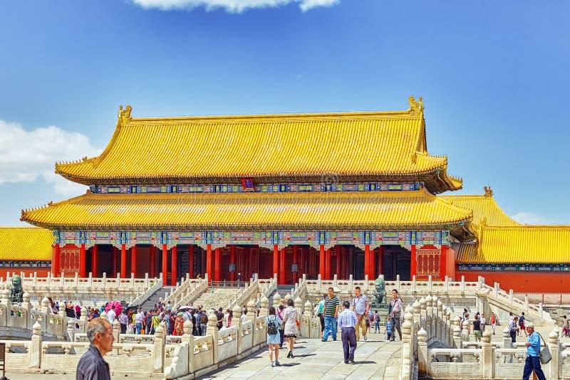 BEIGING, CHINA 18 MEI, 2015: Paleizen, pagoden binnen het gebied royalty-vrije stock afbeelding