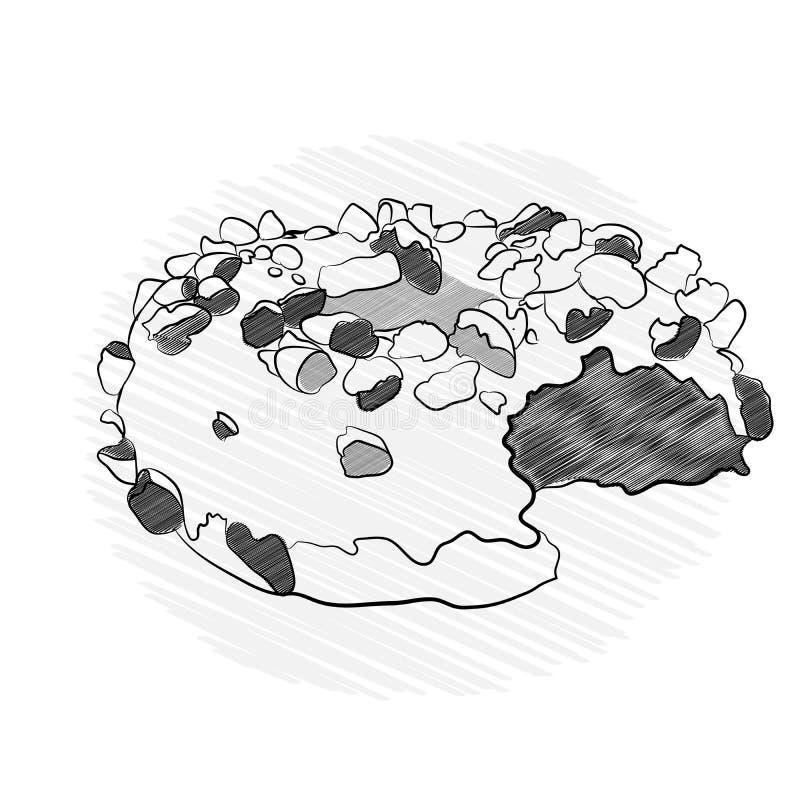 beignet appétissant en puces de chocolat Vecteur illustration de vecteur