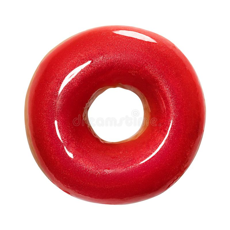 Beignet avec le lustre brillant rouge d'isolement sur le fond blanc Un beignet rouge rond Front View Vue supérieure photo libre de droits