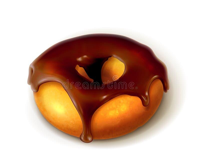 Beignet d'anneau dans le lustre de chocolat illustration libre de droits