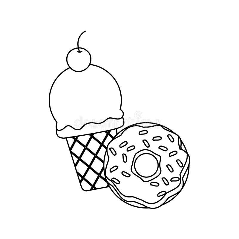 Beignet de crème glacée  illustration libre de droits