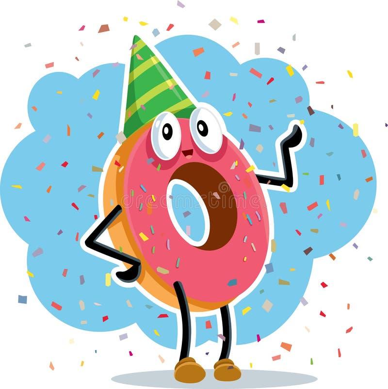 Beignet de fête d'anniversaire célébrant avec des confettis illustration libre de droits