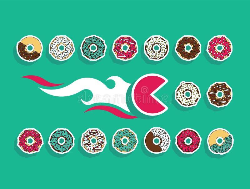 Beignet figé d'aliments de préparation rapide illustration stock