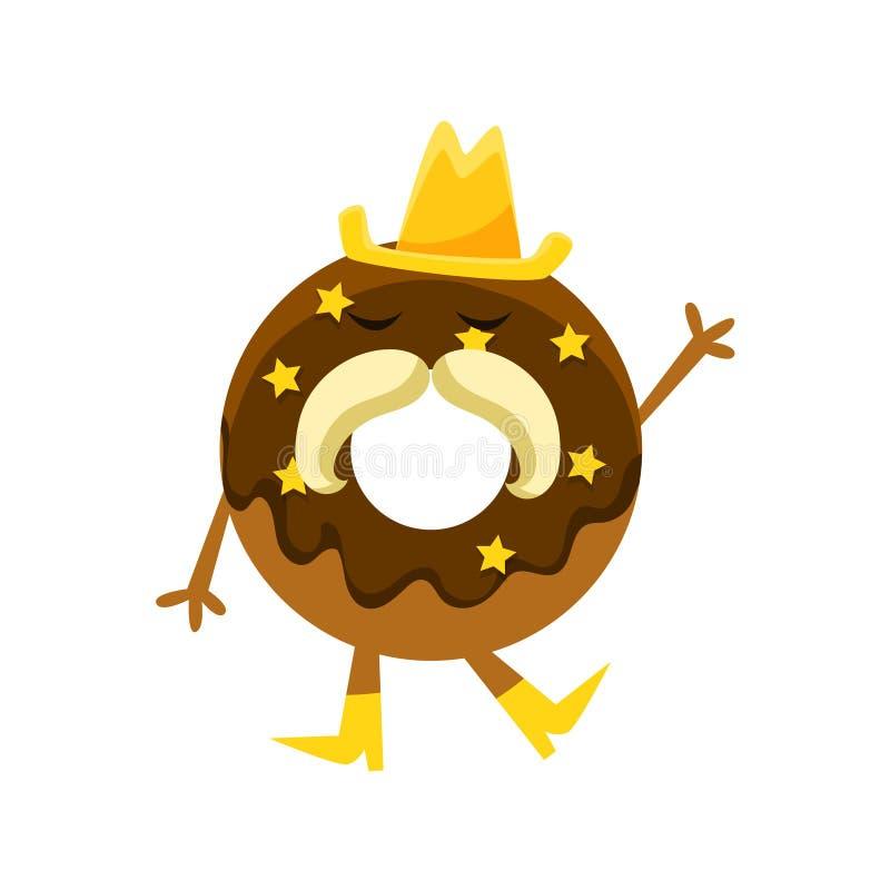 Beignet humanisé avec le glaçage de chocolat, personnage de dessin animé de moustache de Hat And Horseshoe de cowboy avec des bra illustration de vecteur