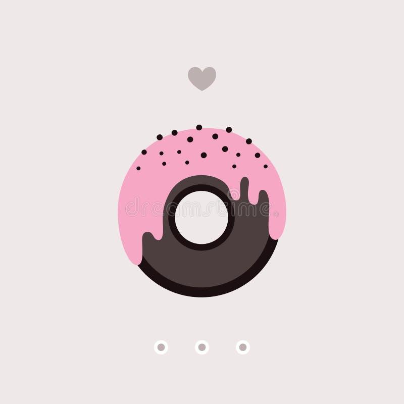 Beignet mignon de chocolat avec le lustre rose sur le dessert doux délicieux supérieur illustration de vecteur