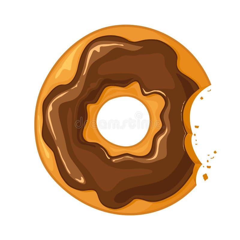 Beignet mordu de chocolat illustration stock