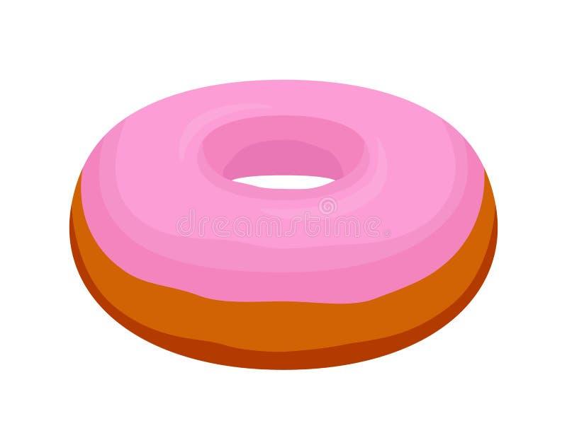 Beignet rose savoureux de lustre de vecteur Pâtisserie, gâteau avec du glaçage-sucre, crème Style plat de bande dessinée illustration stock