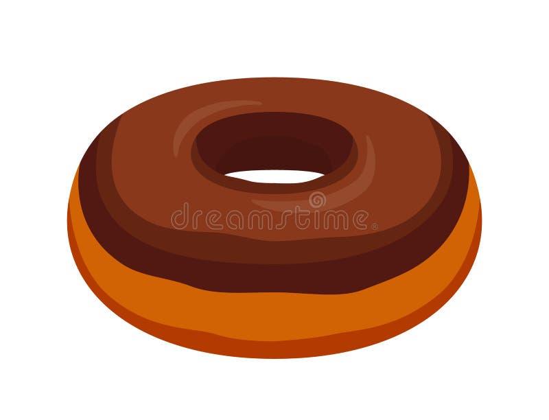 Beignet savoureux de lustre de chocolat de vecteur Pâtisserie, gâteau avec du glaçage-sucre, crème Style plat de bande dessinée illustration stock