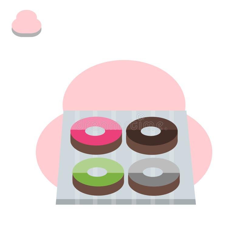 Beignet, temps de coupure avec du chocolat blanc, fraise et chocolat illustration de vecteur