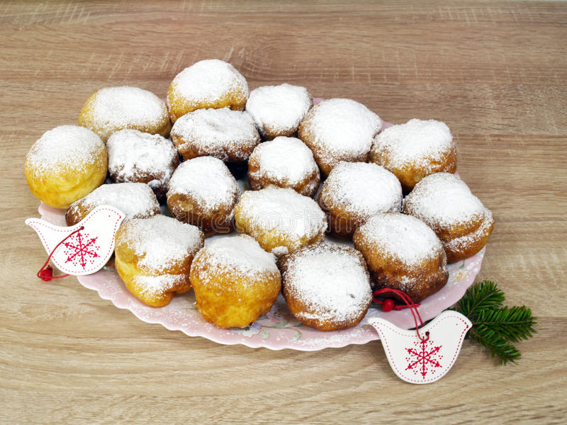 Beignet. Traditional ukrainian food on xmas royalty free stock photo