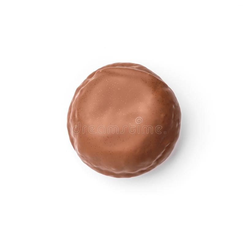 Beignet vitré avec le chocolat au lait Vue supérieure Image d'isolement photo libre de droits