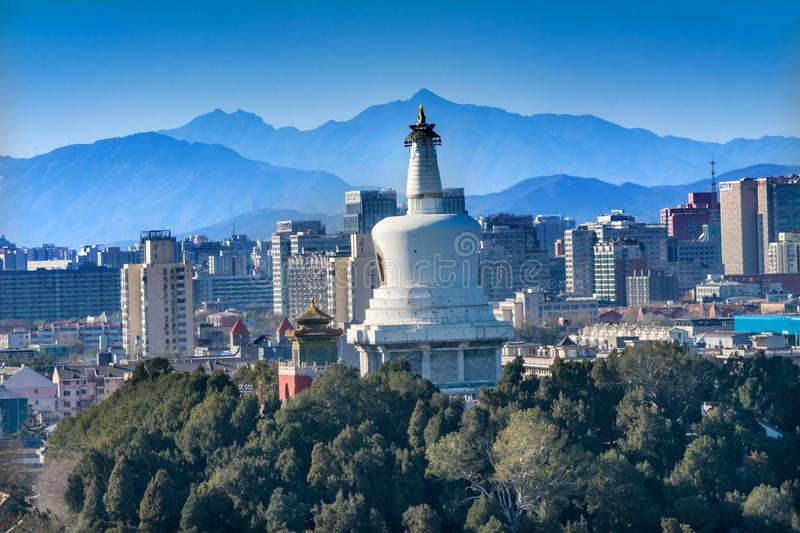 Beihai Stupa Mountains Prospect Hill Jingshan Park Beijing China. Beihai Stupa Park Mountains from Prospect Hill Jingshan Park Beijing China Beihai Park is a royalty free stock photography