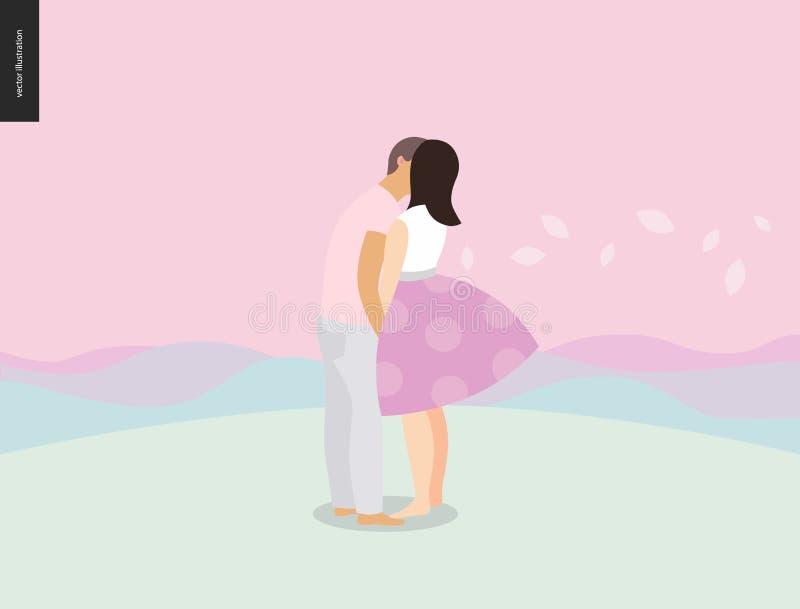 Beijando a composição da cena ilustração do vetor