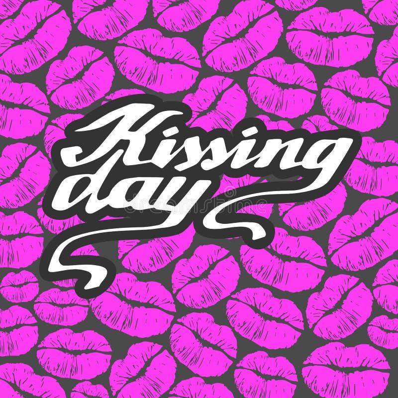 Beijando o dia eu amo beijar a ilustração do amor do dia do vetor do Valentim do beijo ilustração do vetor