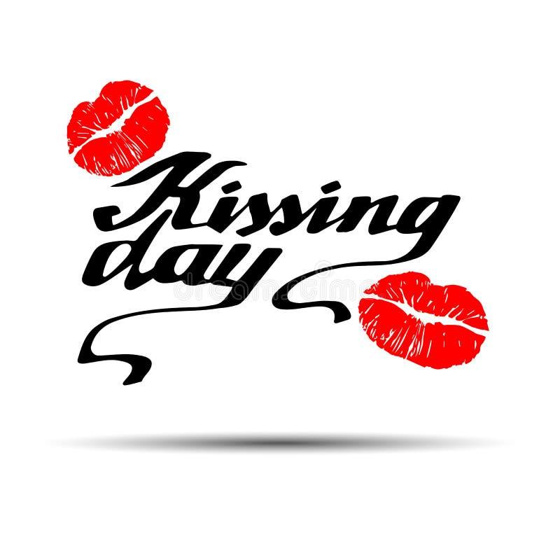 Beijando o dia eu amo beijar a ilustração do amor do dia do vetor do Valentim do beijo ilustração stock
